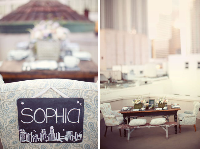 rooftop dinner with vintage chairs