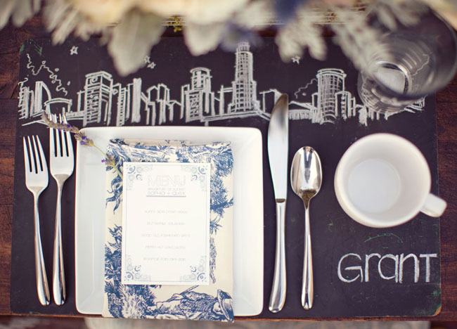 chalkboard placemat city skyline