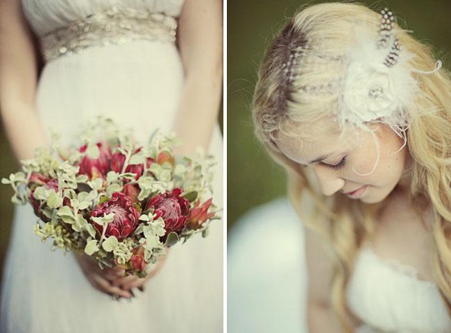 wedding bouquet and veil