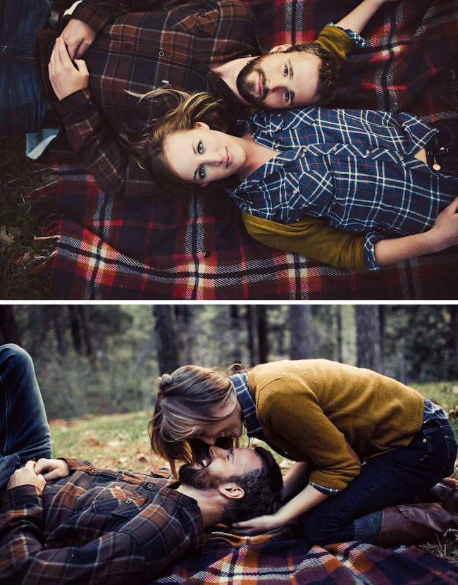 camping engagement photos blanket