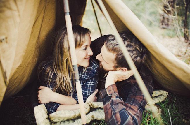 camping engagement photos tent