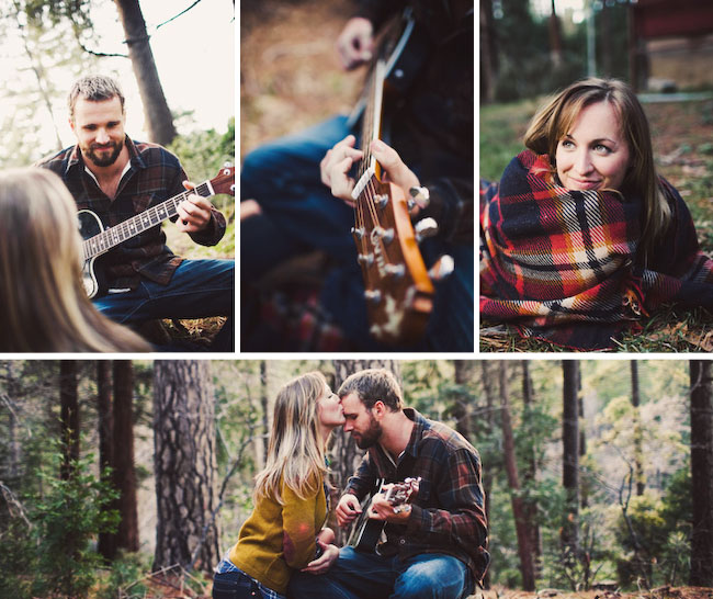 camping engagement photos guitar