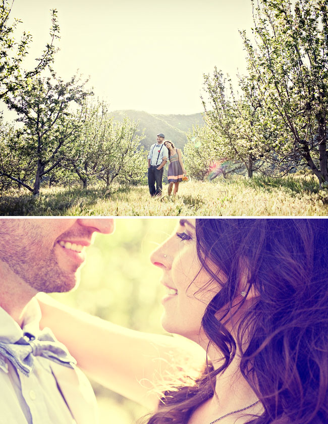 cherry orchard engagement photos
