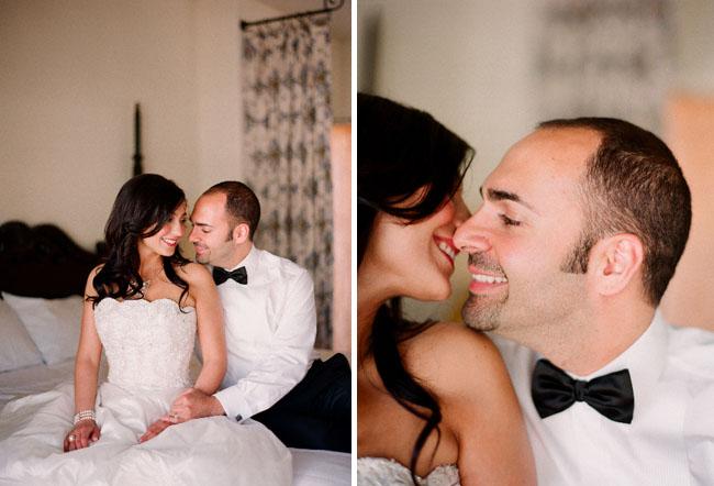 wedding couple in hotel room