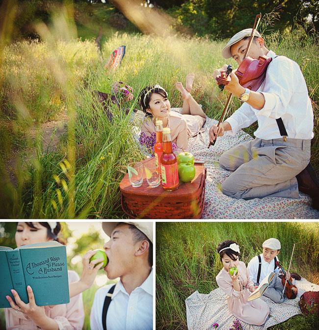 wedding picnic engagement photos