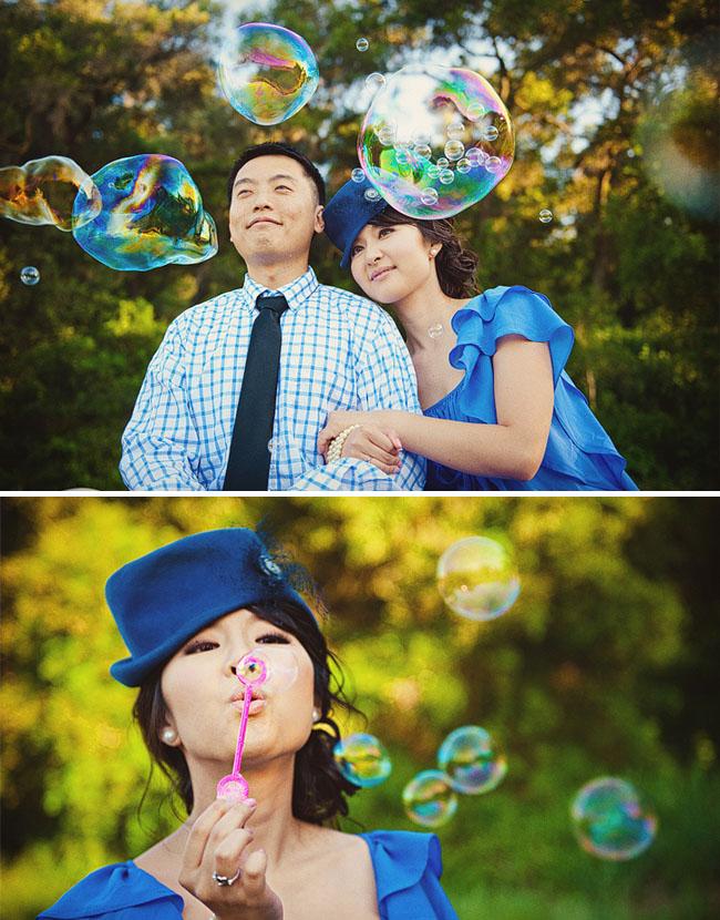 bubbles for engagement photos