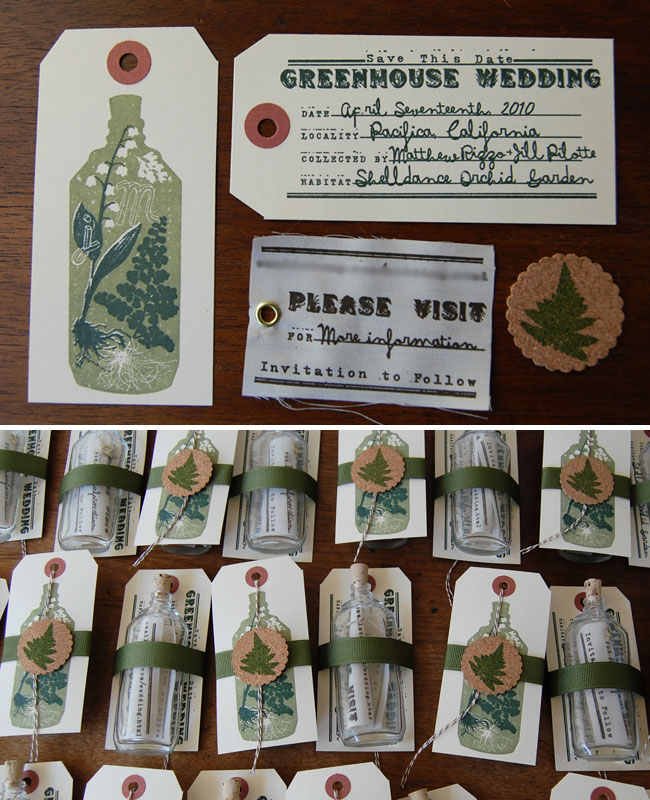 message in bottle wedding invitations