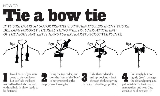 how to tie bow tie illustration