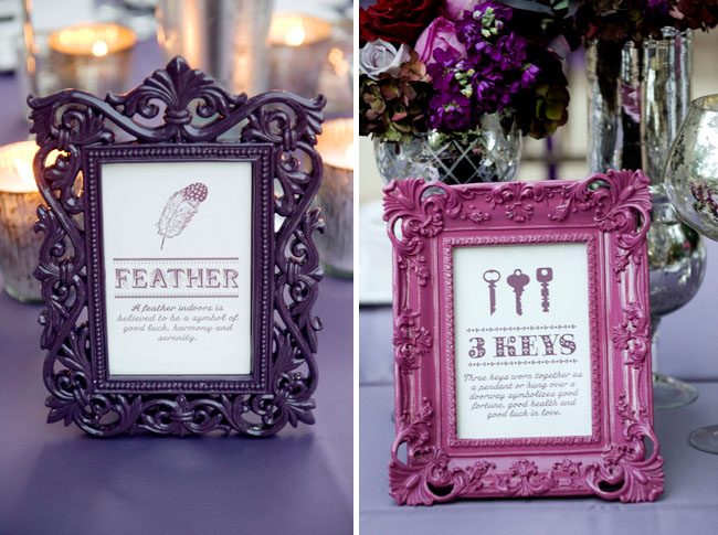 wedding frames purple keys feather