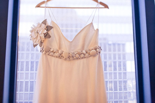 wedding dress with flower