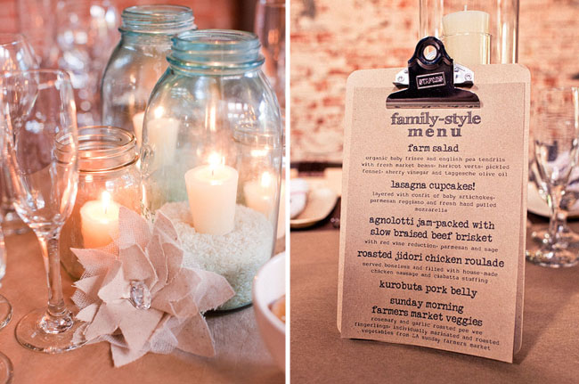 wedding menu centerpieces