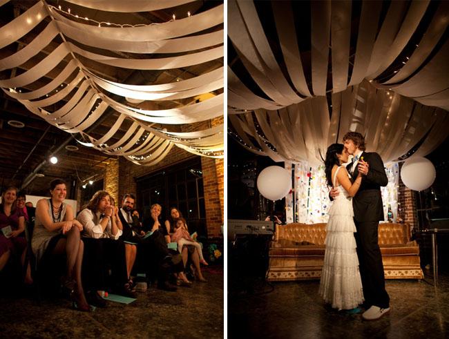 streamers hanging wedding
