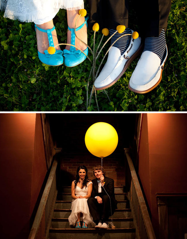 blue wedding shoes balloon