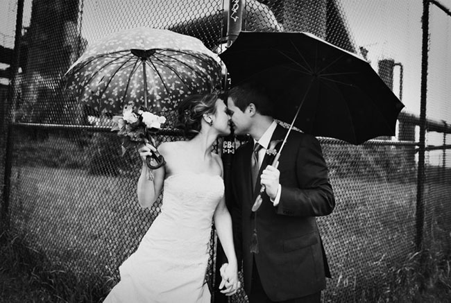 rainy wedding with umbrellas