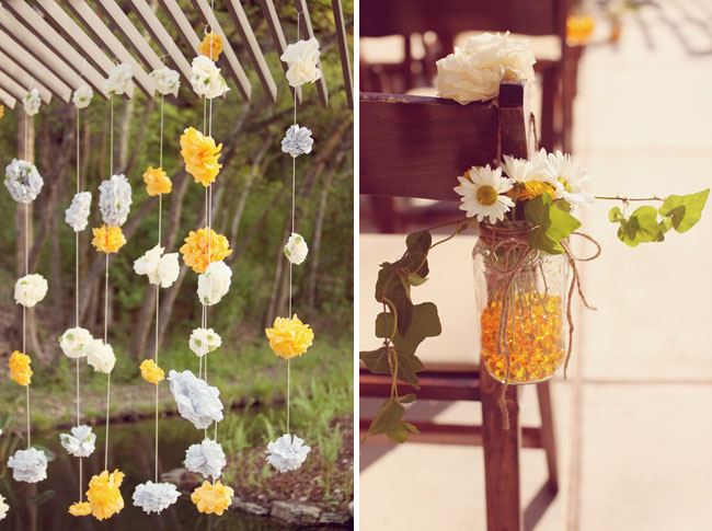 paper flowers hanging ceremony