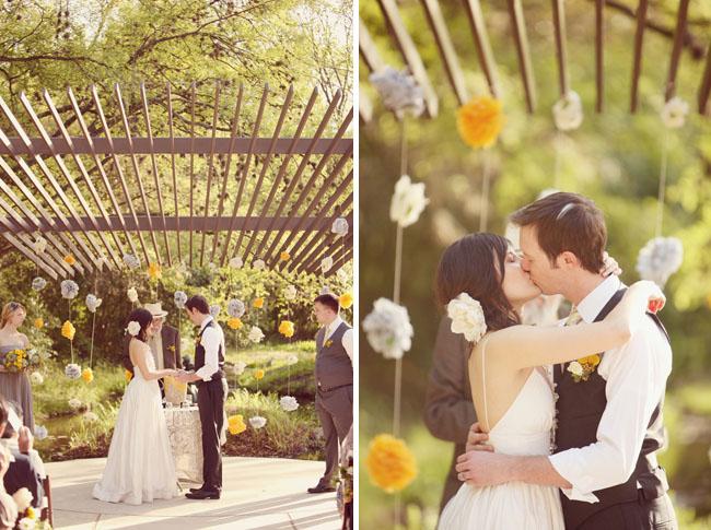 wedding ceremony hanging paper flowers