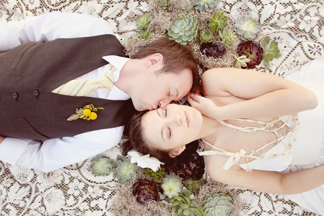 wedding day after succulents