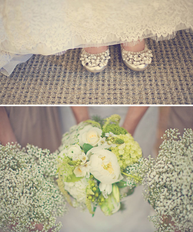 wedding gold shoes and bouquets