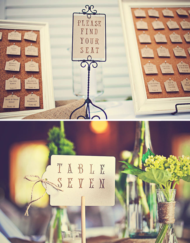 wedding place cards and table numbers