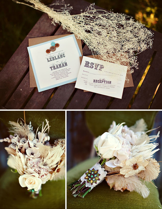 buttons wedding invitations bouquet
