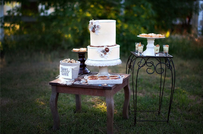wedding dessert table cake and sweets