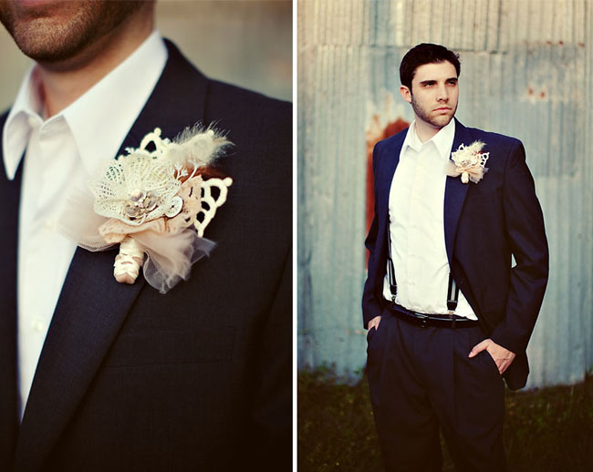 groom tux unique boutonniere