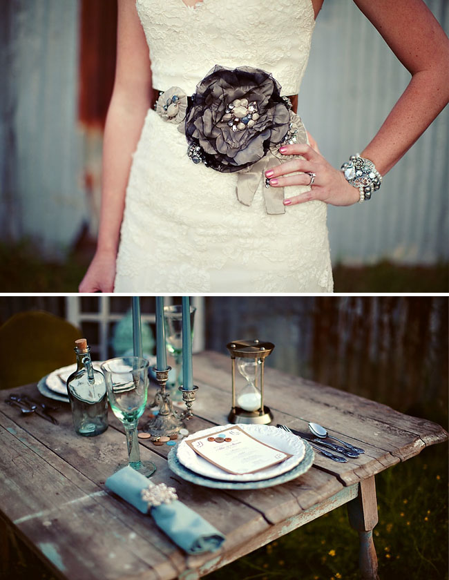 wedding sash vintage table
