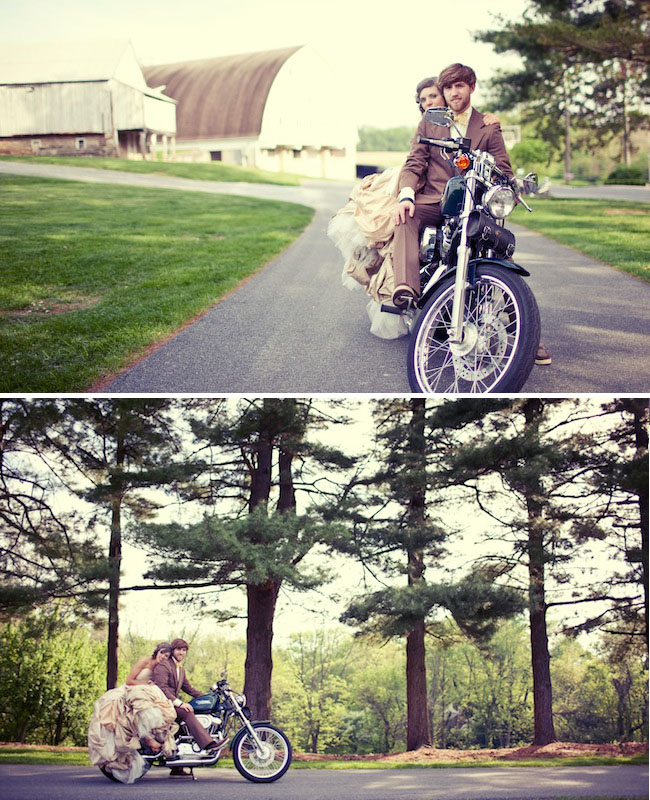 wedding exit motorcycle