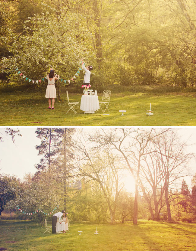 whimsical tea party engagement