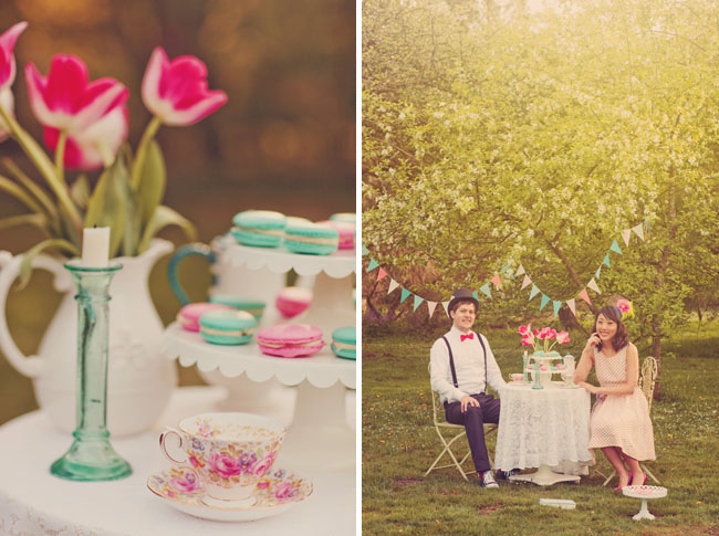 whimsical tea party engagement macaroons