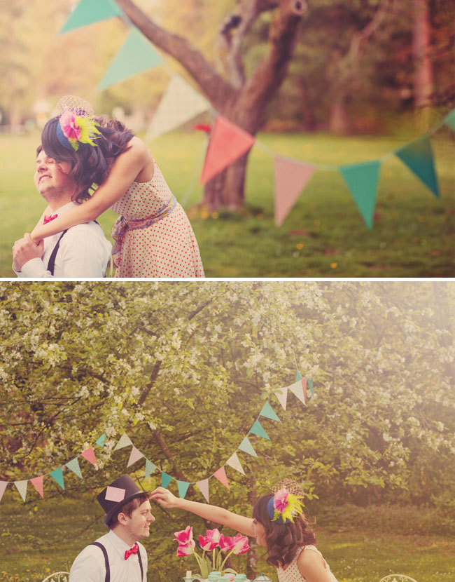 whimsical tea party engagement bunting