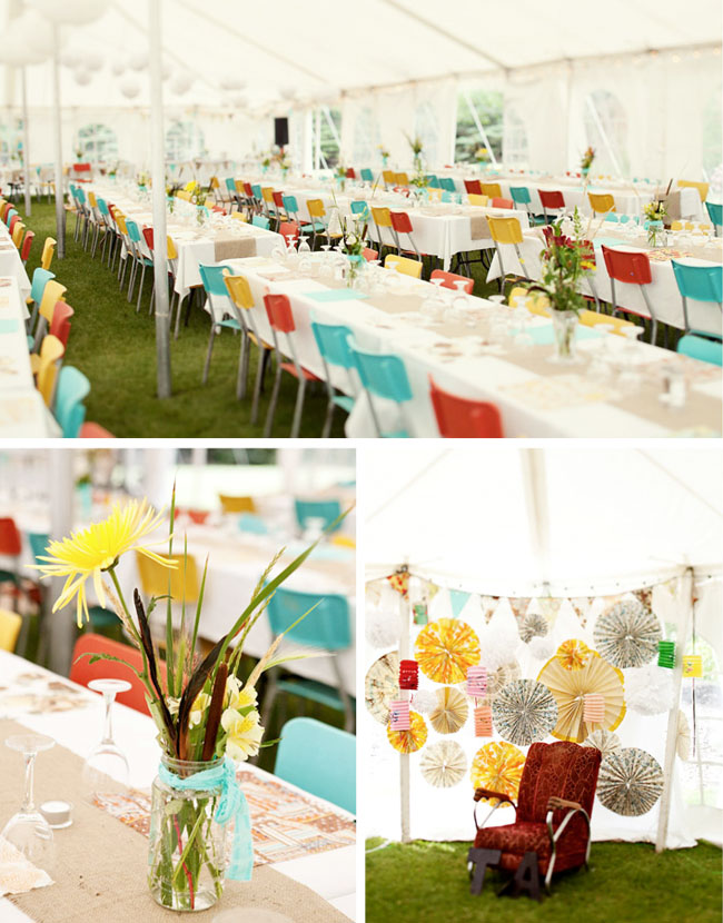 bright colored chairs outdoor wedding