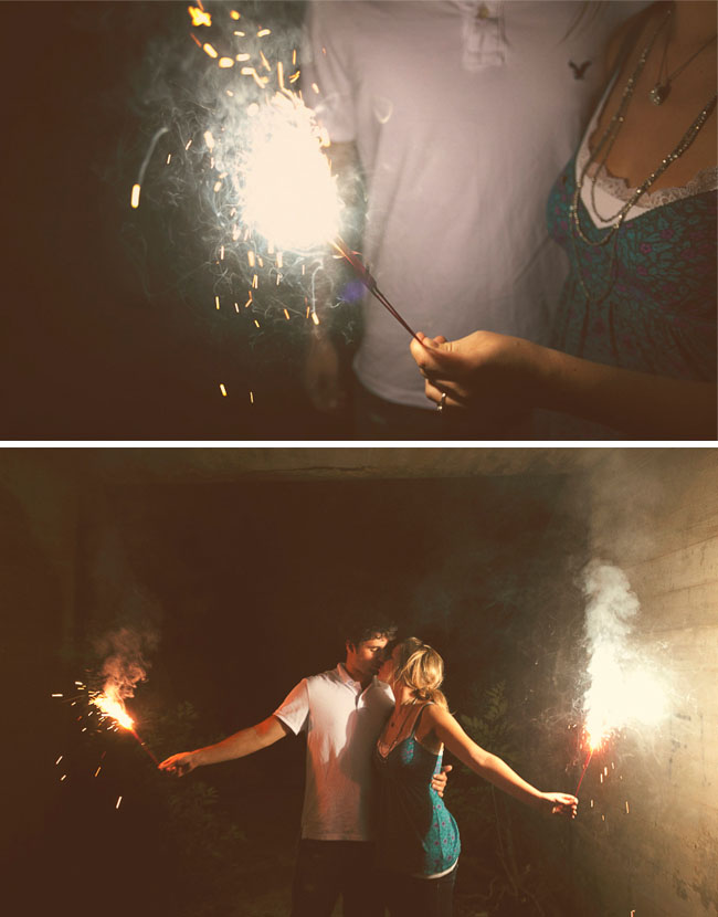 fireworks engagement photos