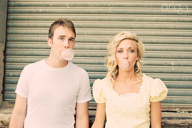 bubble gum engagement photos