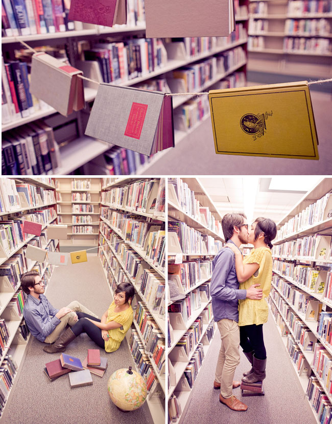 library engagement photos hello studios