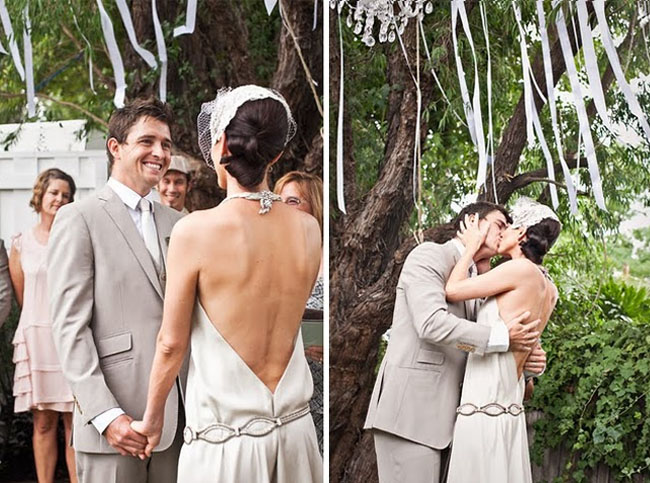 backyard wedding streamers