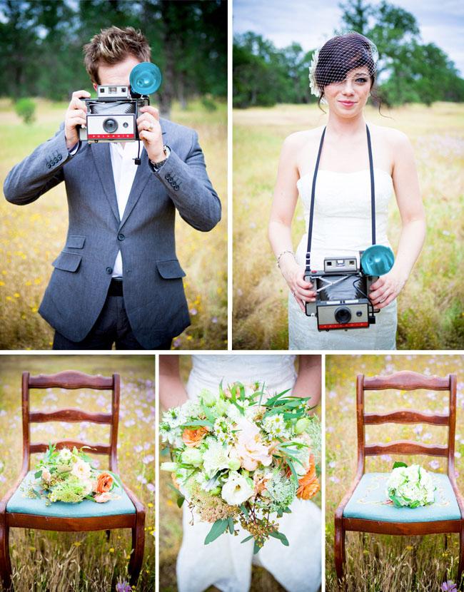 wedding couple vintage polaroids