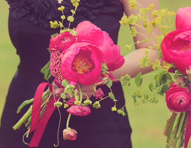 bright pink peony bouquet
