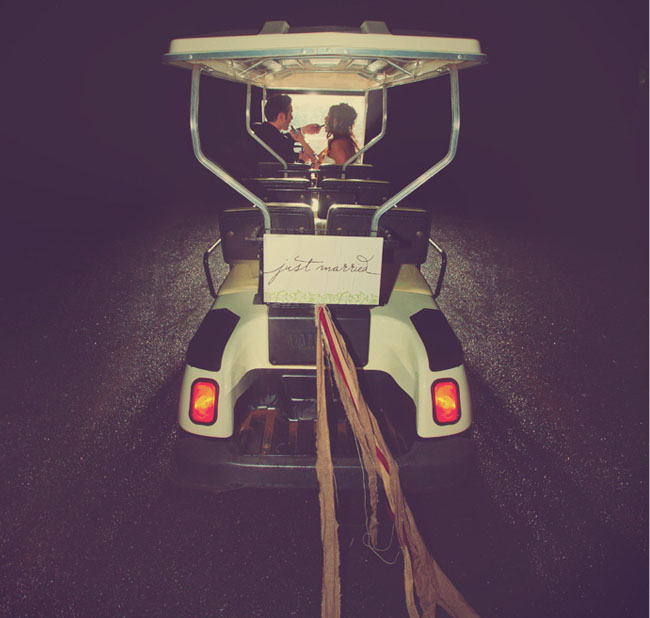 wedding exit golf cart