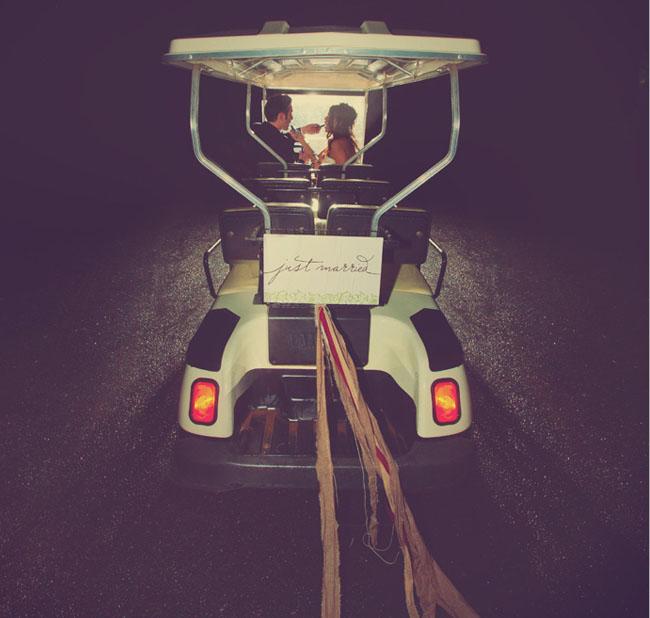 wedding exit golf cart