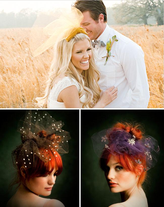 yellow tulle wedding veil