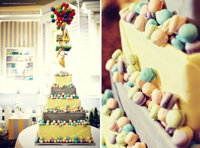 up movie wedding cake macaroons