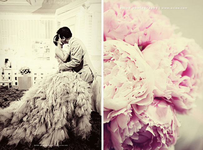 feather wedding dress peony
