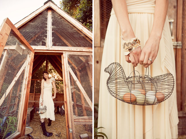 farm wedding eggs bride