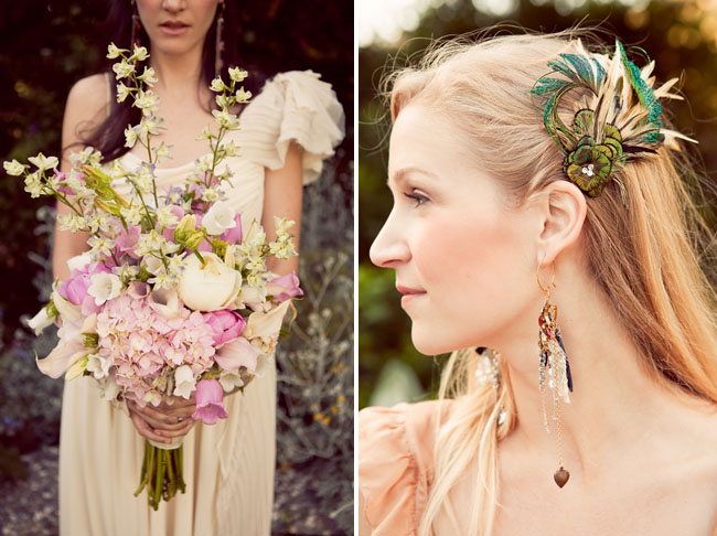 bouquet and wedding hairpiece