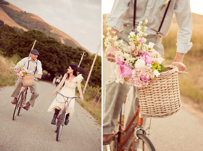 bride and groom on bikes wedding day