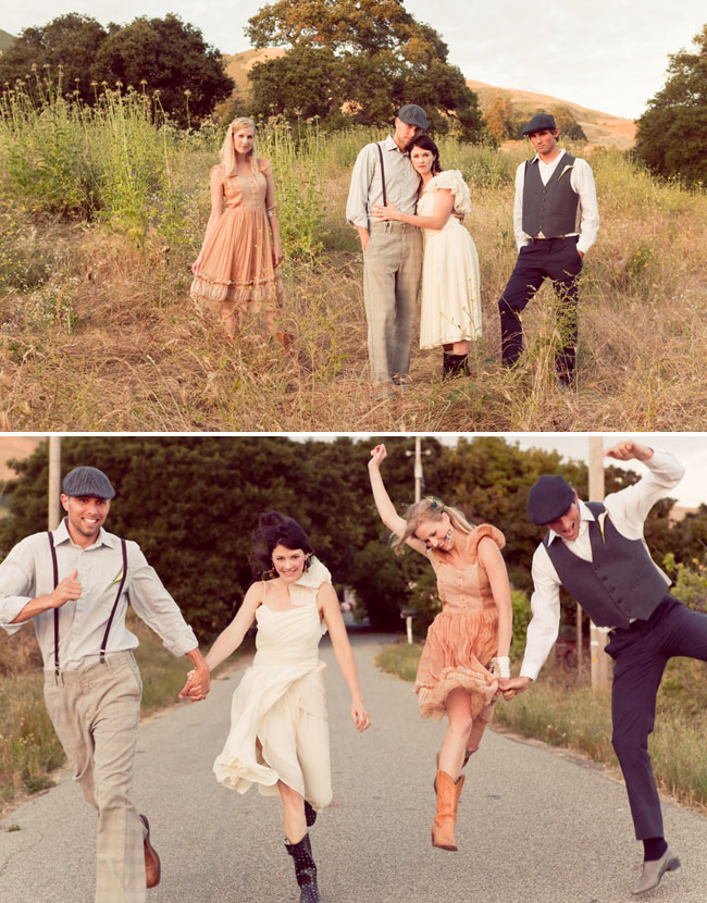 bridal party vintage attire in the fields
