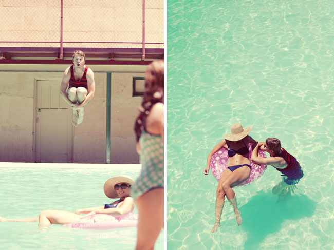 retro swimming pool engagement photos