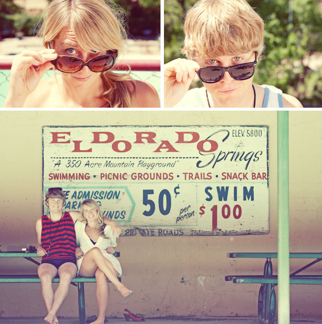 retro swimming pool engagement photos