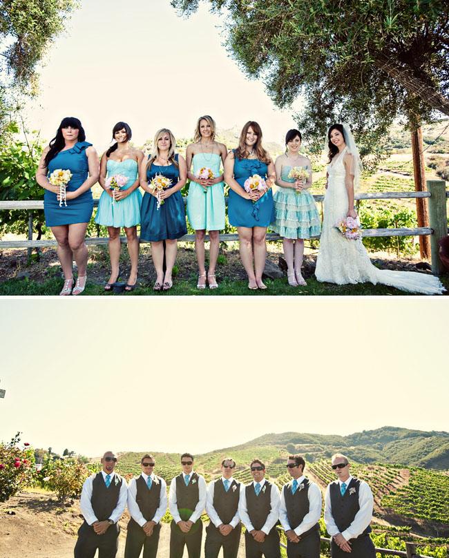 bridesmaids non matching dresses